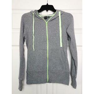 Zella Gray/Lime Zip-Up Athleisure Hoodie